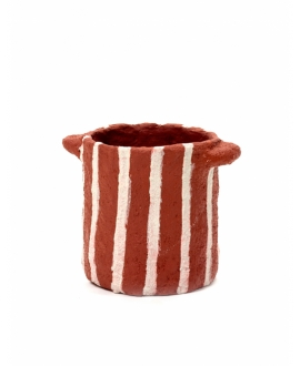 Pot Marie Paper Mache - Red Vertical Stripes