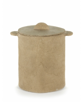 Pot + Lid  Marie Paper Mache - Brown D35H40