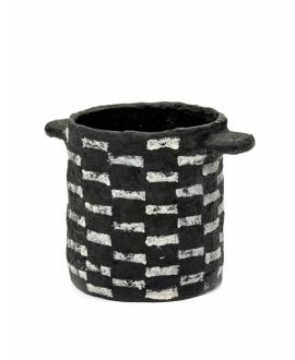 Pot Marie Paper Mache - Short Stripes